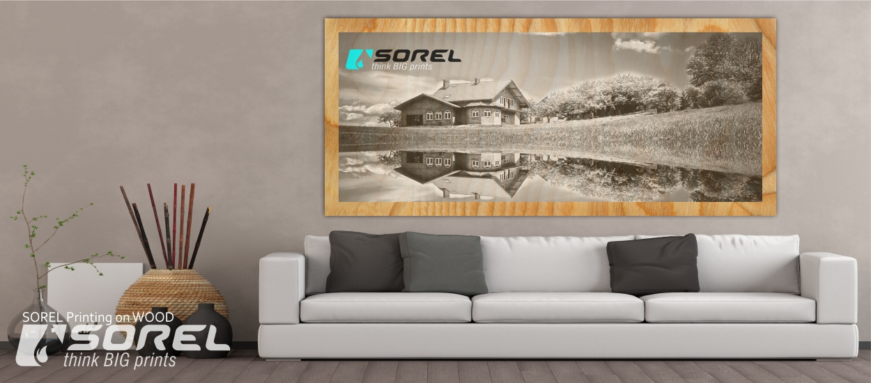 Direct Printing on Wood Sheet. Image - Black&White. Logo - Colored, Printed with selective white layer. We Recommend to leave 3-10mm frame around the image